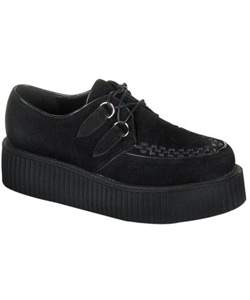 CREEPER-402S Black Suede Creepers - Gothic clothing, Platform boots, creepers shoes, platform shoes, gothic boots and shoes.