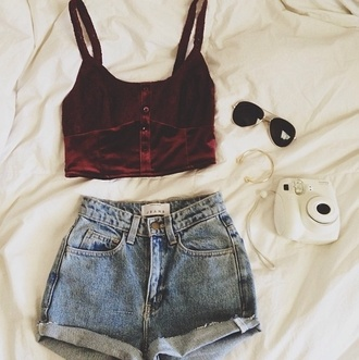 shirt fleece res red spaghetti strap low cut roll up shorts
