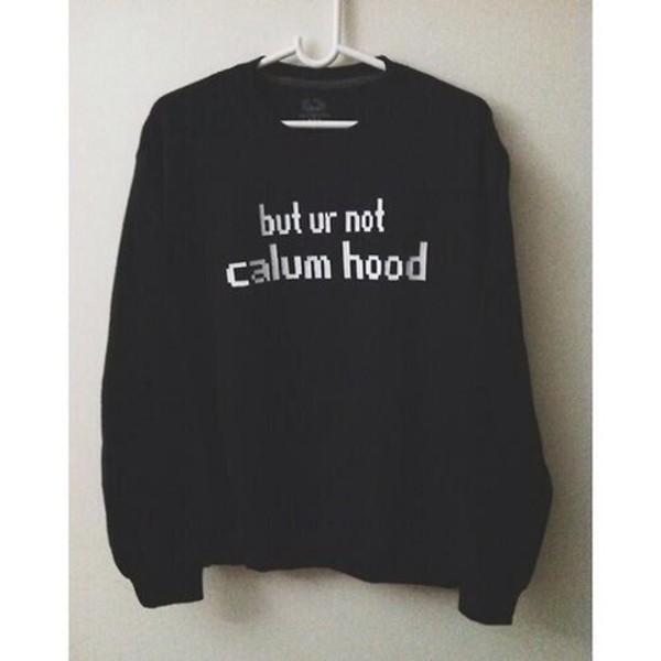 sweater 5 seconds of summer 5 seconds of summer calum hood fangirl music black black sweater coat black hoodie