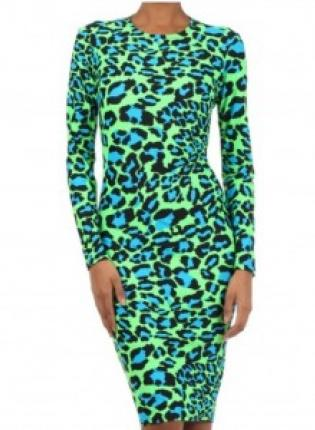 Green Party Dress - Green & Blue Leopard Print | UsTrendy