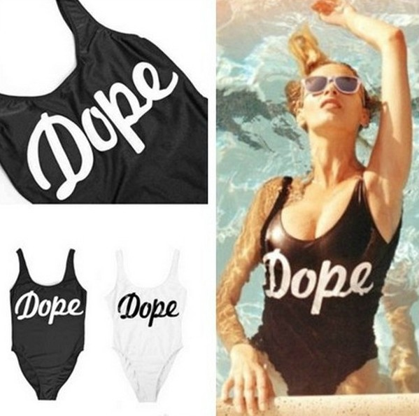 VB 039 Amazing!! Cheap Brand Letter Swimsuit,sexy bikini swimwear black and white Stampd california dope one swimsuit-inOne Pieces from Apparel & Accessories on Aliexpress.com