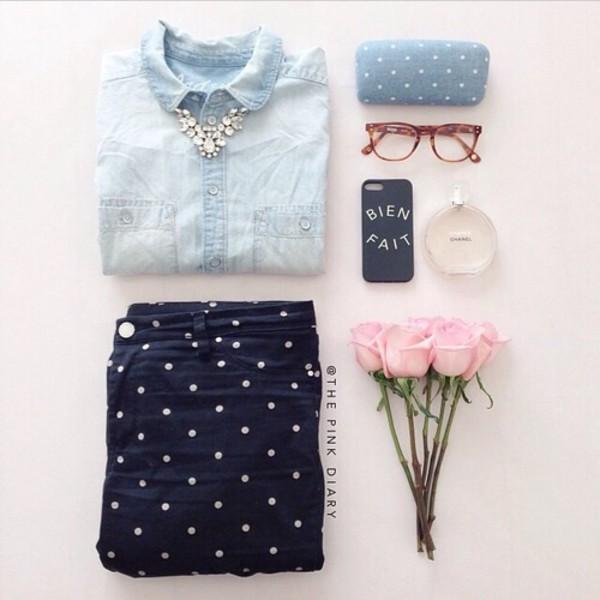 jeans polka polka dots navy blue cute shirt back to school denim shirt polka dots jewels