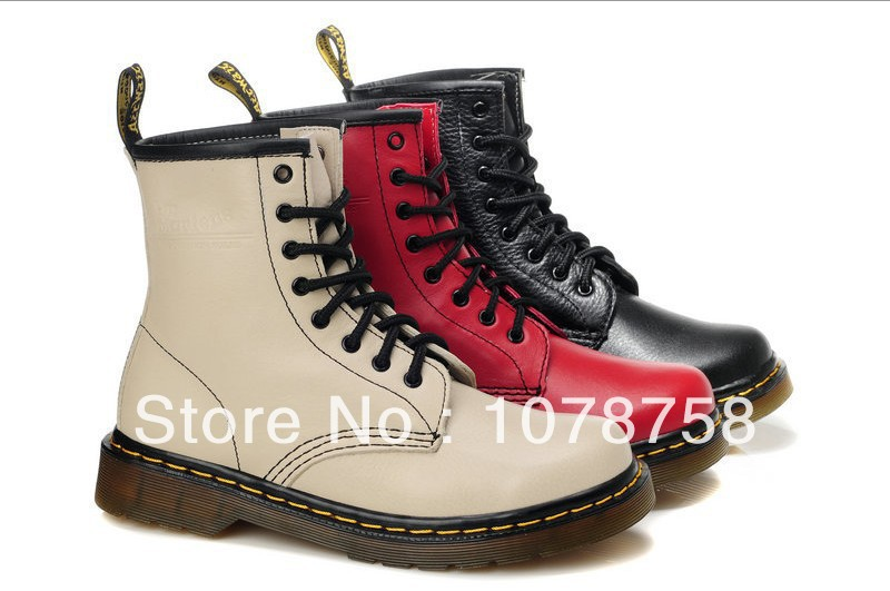 Authentic Dr Martins 1460 BLACK/YELLOW/RED/SKY BLUE/WHITE NAPPA Women's Boots/Shoes Genuine Leather Winter/Autumn Free Shipping-in Boots from Shoes on Aliexpress.com