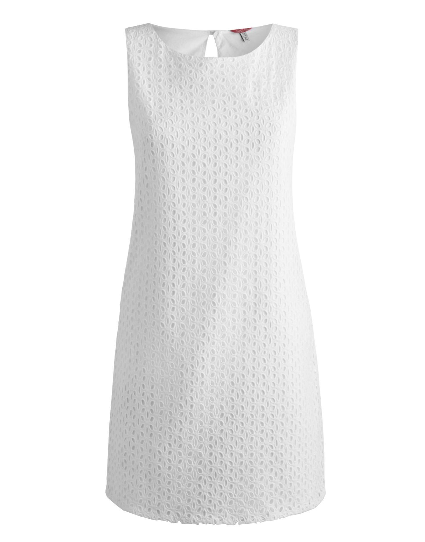 White Delia Womens Broderie Dress  | Joules US
