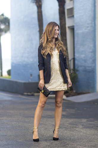chicstreetstyle blogger jewels top jacket dress bag shoes chanel bag gold dress blazer pumps