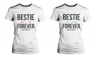 Amazon.com: Best Friend Shirts - Bestie Forever and Ever Matching White T-Shirts: Clothing