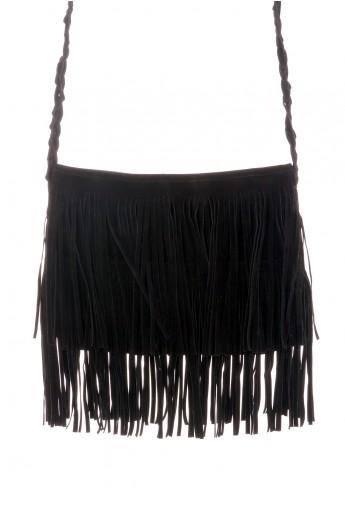 Black Fringe Knit Strap Shoulder Bag - Retro, Indie and Unique Fashion