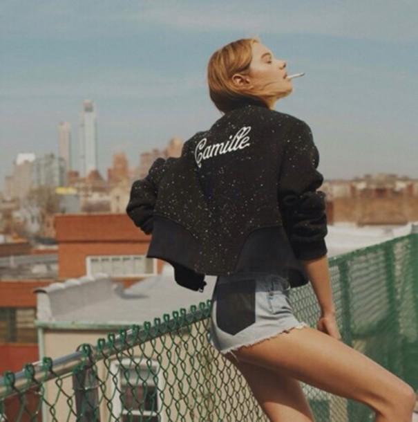 pale indie alternative denim shorts bomber jacket
