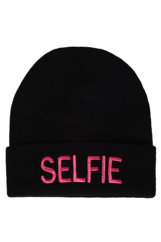 Buy Pink Slogan Beanie Hat from Select Fashion online store