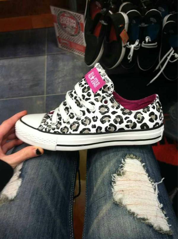 shoes leopard print converse jeans converse white cheetah