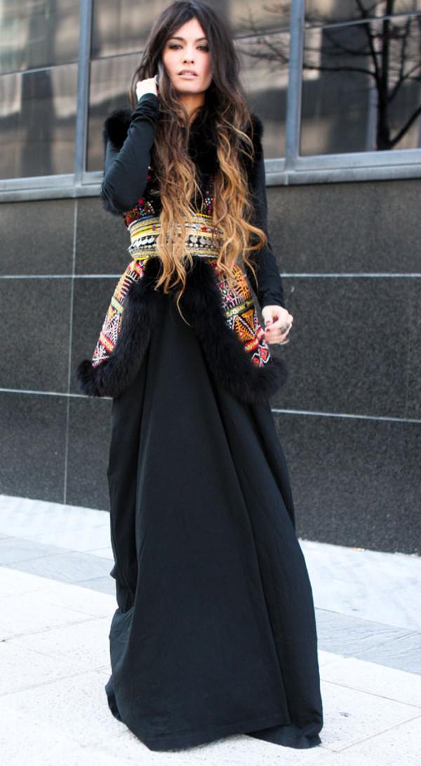 madame rosa jacket dress belt black maxi dress long sleeve