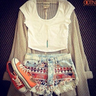 shorts high waisted denim shorts sweater t-shirt shirt crop tops aztec tribal pattern print tumblr blouse aztec short orange red high waisted shorts denim cardigan knitted cardigan pants denim shorts summerhype summerlife white crop tops