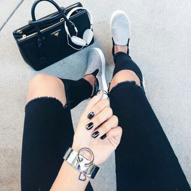 shoes slip on shoes jeans bag loafers ripped jeans black jeans coat