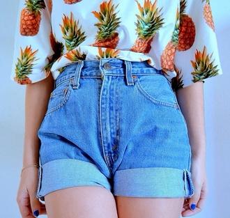 fruits shirt t-shirt ananas tshirt ananas fruity-girl shorts