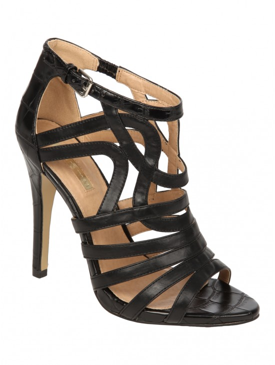 Jane Norman Black High Heel Cage Shoe  | Jane Norman