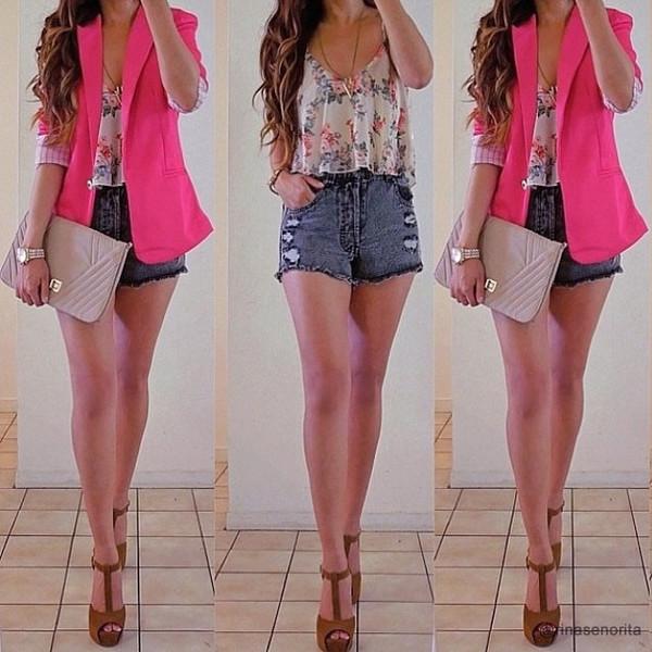 Lapel Cotton Suit - Pink