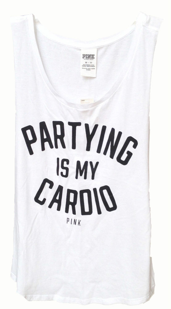 Victoria's Secret Pink Partying Is My Cardio Tank Top Shirt XS | eBay