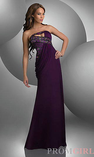 Unique Strapless Shimmer Dress, Beaded Evening Gown- PromGirl