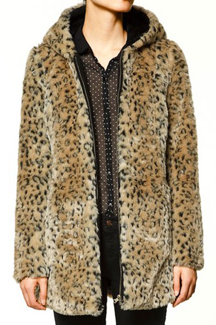 ROMWE   ROMWE Leopard Print Long Sleeve Coat with Hood, The Latest Street Fashion