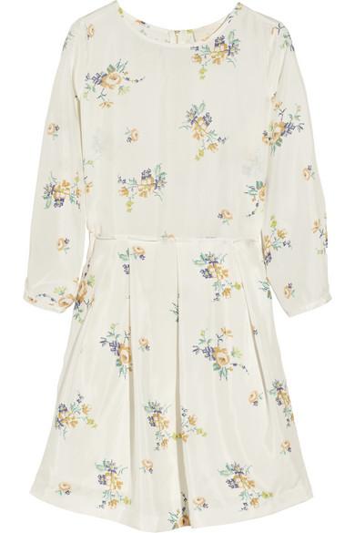 Band of Outsiders|Floral-print silk-habotai dress|NET-A-PORTER.COM