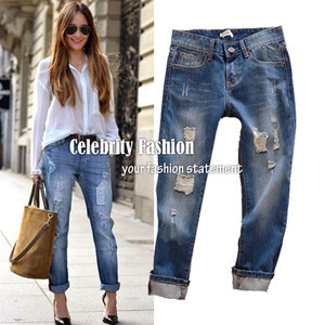 P05* 2013 Hot Sale Celebrity Style Rolled Up Ripped Boyfriend Jeans Loose Fit Demin Washed Pant Trouser Plug Size Free Shipping-inWomen from Apparel & Accessories on Aliexpress.com
