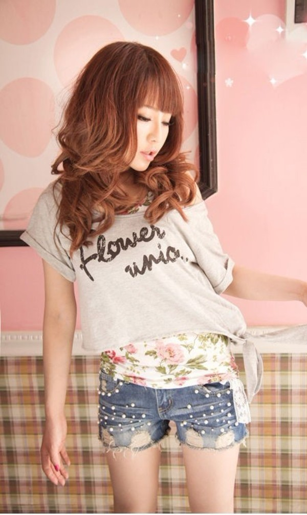 shorts denim jeans fashion summer floral shirt