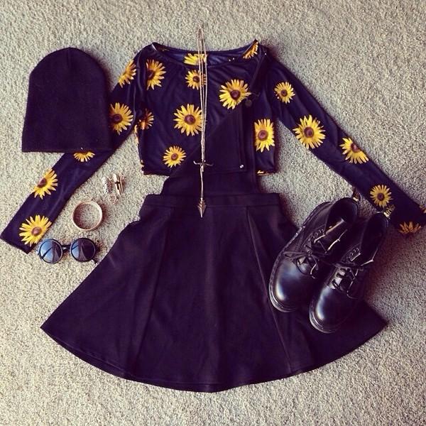 blouse daisy black and yellow dress