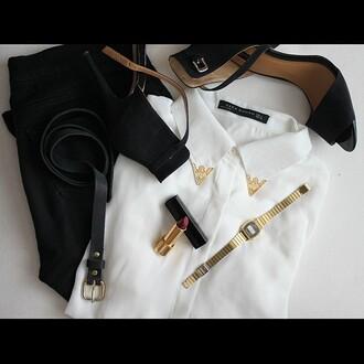 shoes black zara gold watch white belt jeans jewels shirt