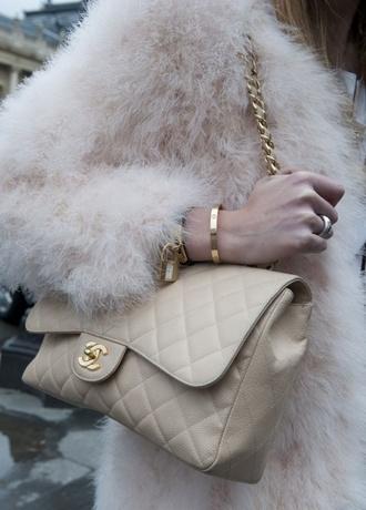 fur fur coat fluffy warm winter coat warm sweater white jewels faux texture jewelry bracelets stacked bracelets gold bracelet gold