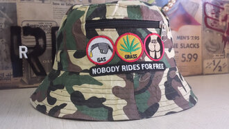 camouflage gas grass butt weed sexy zip funny weird bucket hat trill patch