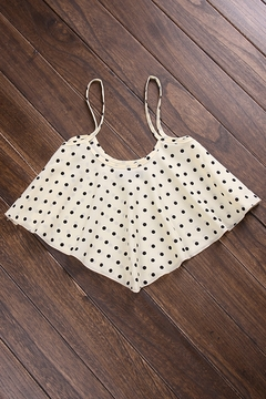 BLACK SKIRT AND FLOWY POLKA DOT CROP TOP on The Hunt