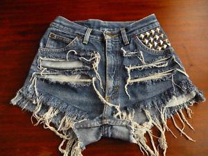 Vtg Lee Jeans High Waisted Blue Shorts Jeans Studded Distressed Size 2 3 | eBay