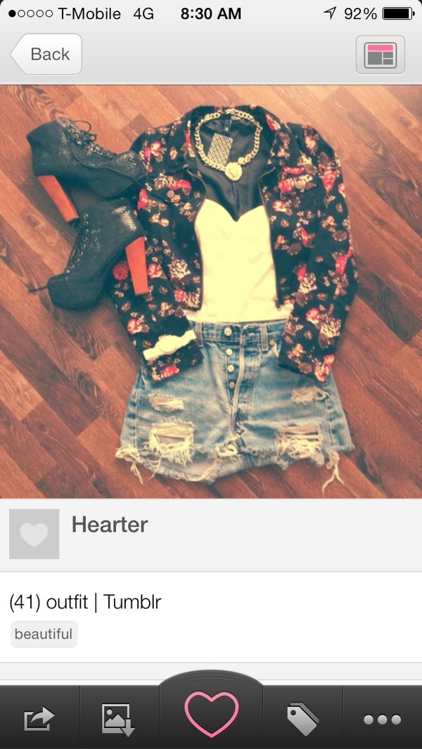 jewels black pink floral ripped shorts white lion head jacket