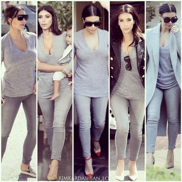 shirt grey kim kardashian v neck