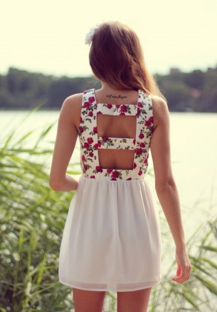 dress floral white
