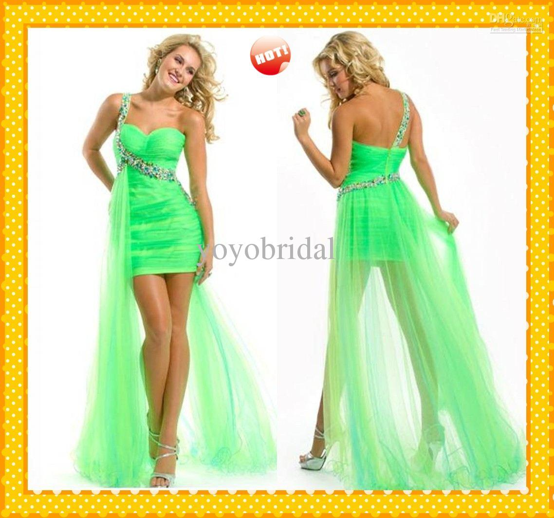 Wholesale 2013 New Lime Green One shoulder Hi-Lo Organza Sheath Pleated Prom Dress Evening Formal Dresses Gown, Free shipping, $134.09/Piece | DHgate Mobile