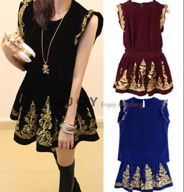 dress black embroidered embellished skirt