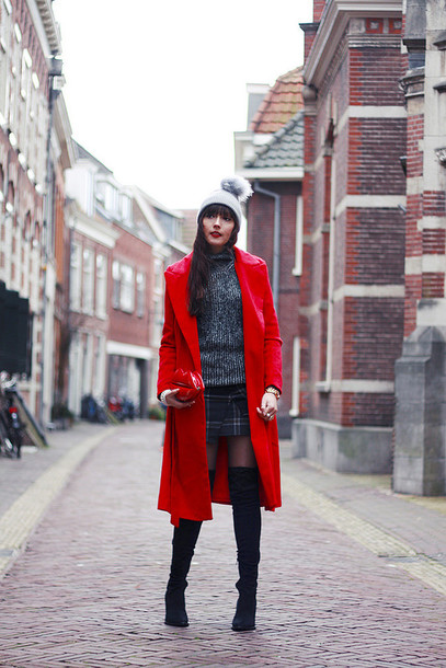 a dash of fash blogger red coat lips plaid skirt thigh high boots pom pom beanie coat hat sweater skirt shoes bag jewels