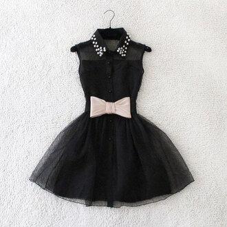 dress black bow studs bkack studded little black dress collar studded collar ballerina tulle skirt
