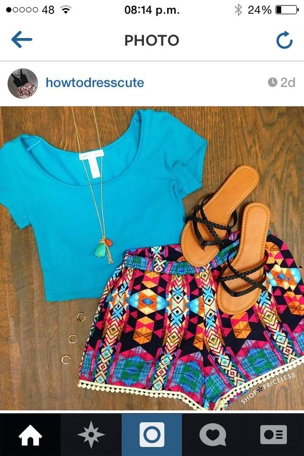 shorts High waisted shorts patterened printed shorts aztec blue summer outfits