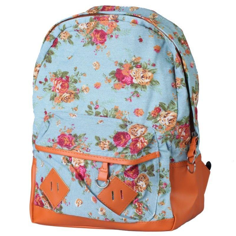 Women Girl Vintage Cute Flower Floral Bag Canvas Schoolbag Bookbag Backpack Blue | eBay