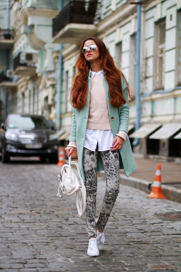 tina sizonova coat jeans sweater shirt