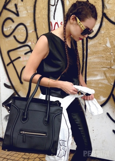 Oversized Smile Face Handbag In Black [FPB735] - PersunMall.com
