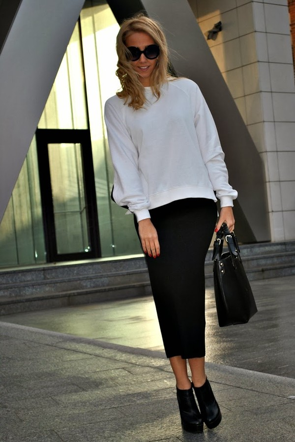 let's talk about fashion ! sweater skirt shoes bag sunglasses