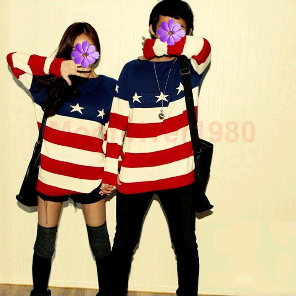 Men Women Lovers Couple American Flag Pattern Knit Sweater Outerwear Pullover | eBay