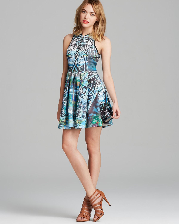 AQUA Dress - Paisley Print Scuba Zip Front Racerback   Bloomingdale's
