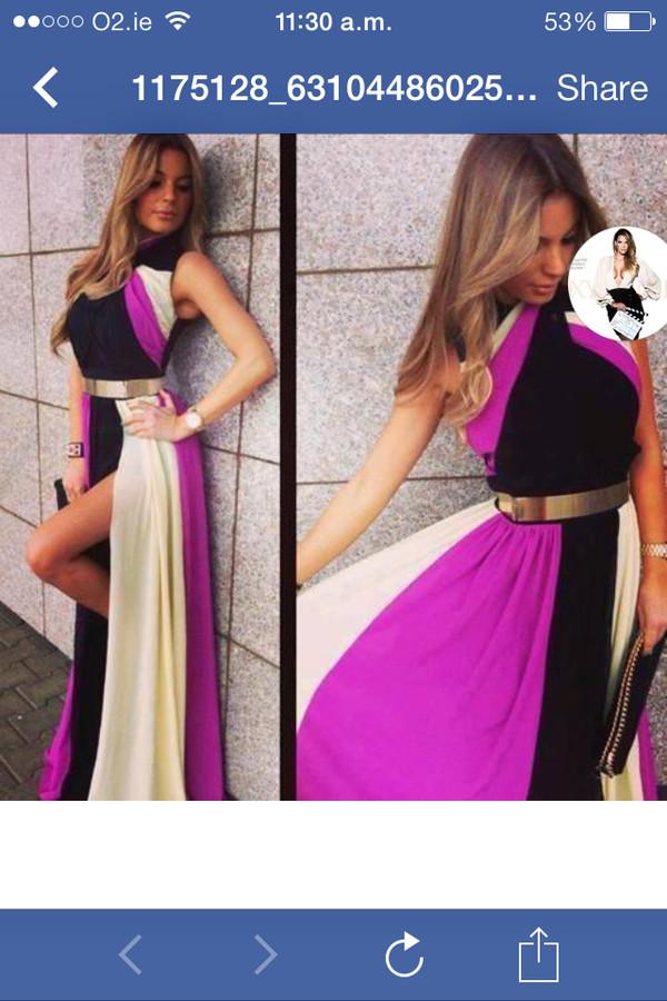 dress maxi dress purple dress black slit dress gold
