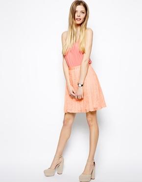 ASOS   ASOS Pleated Mini Skirt In Lace at ASOS