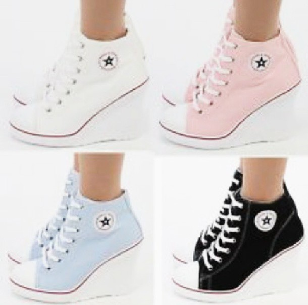 shoes converse high converse high girly sporty nice cool cute pastel white brand high heels feminine