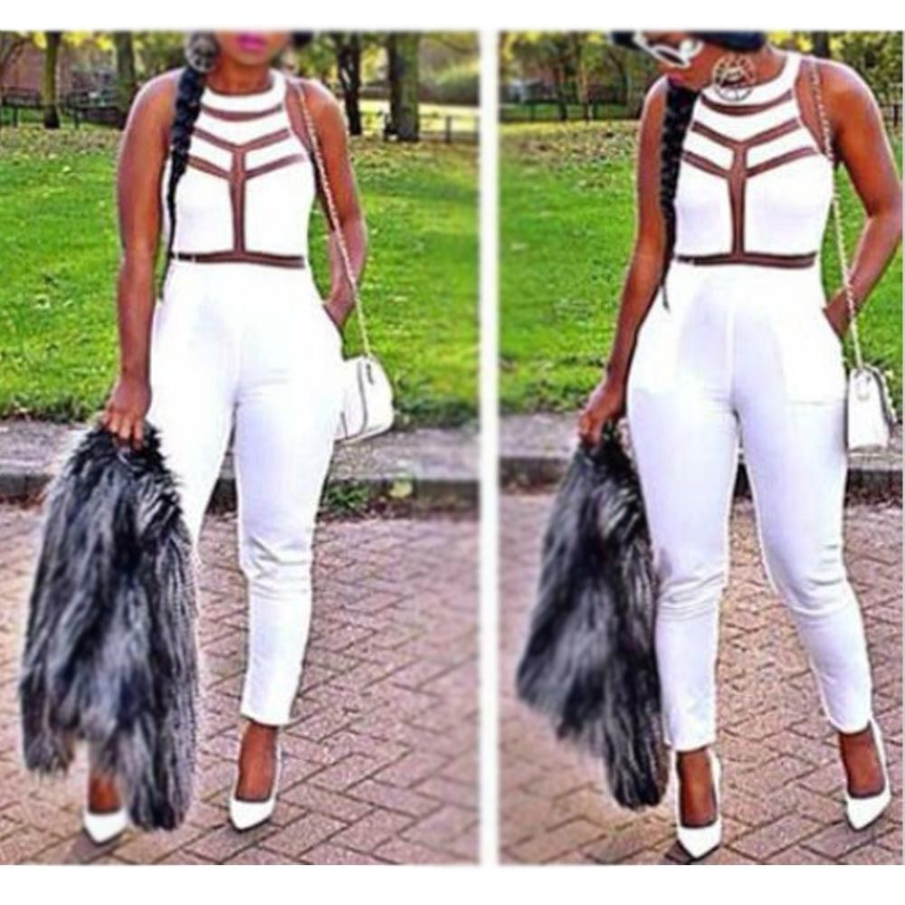 New Sexy Womens Ladies Gauze Outfits Bodycon Jumpsuit Romper Trousers Clubwear M | eBay